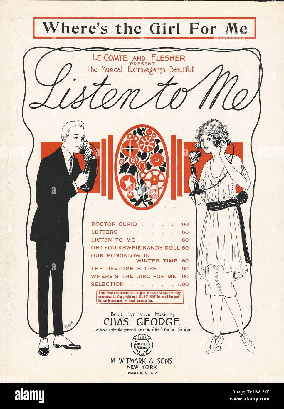 'Listen to Me' 1922 Musical Sheet Music Cover - Stock Image