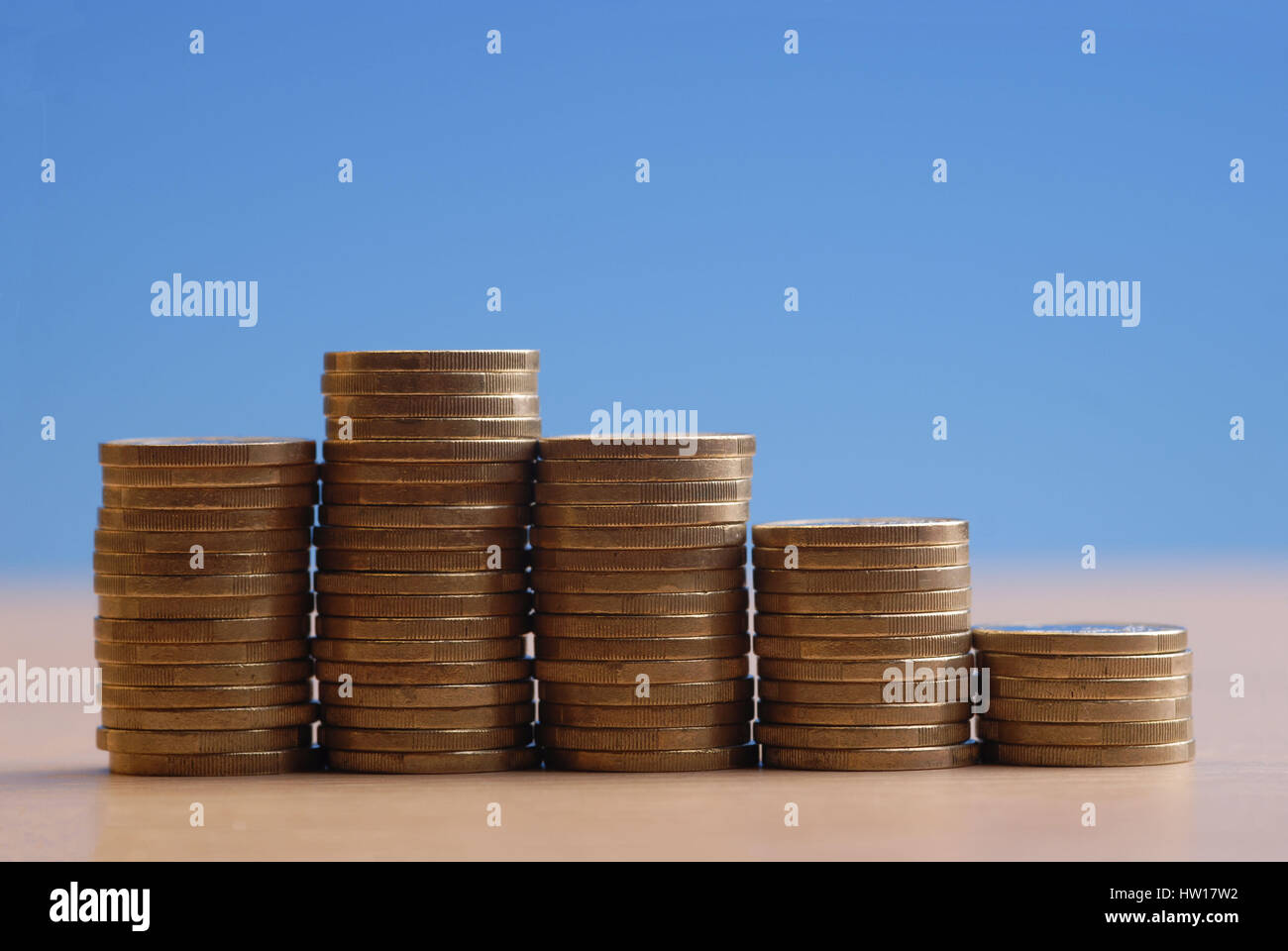 Coin pile, Münzstapel - Stock Image