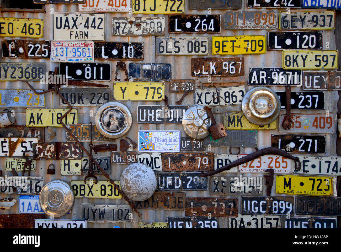 Auto signs on the wall in Westaustralien, Autoschilder an der Wand in Westaustralien - Stock Image