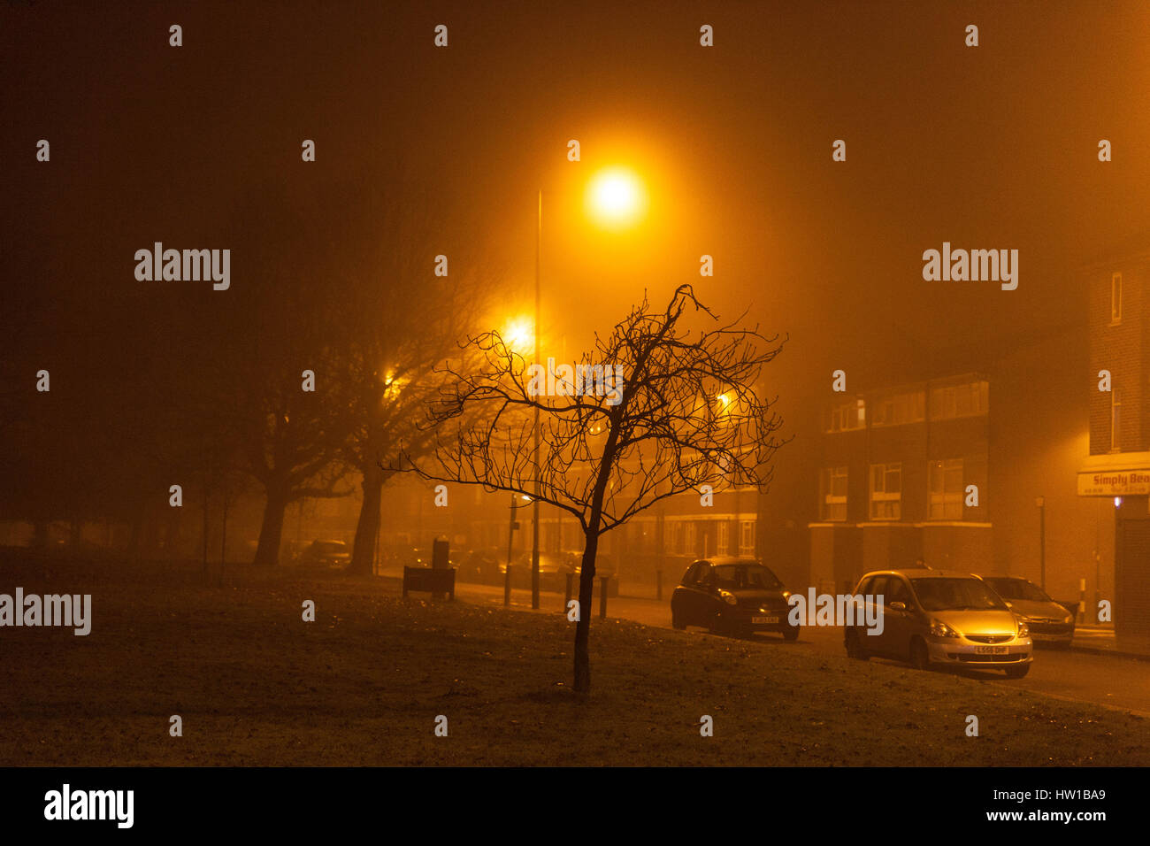 Amber Yellow Glow From Sodium Vapor Street Lights In Misty Night Queensbury Harrow
