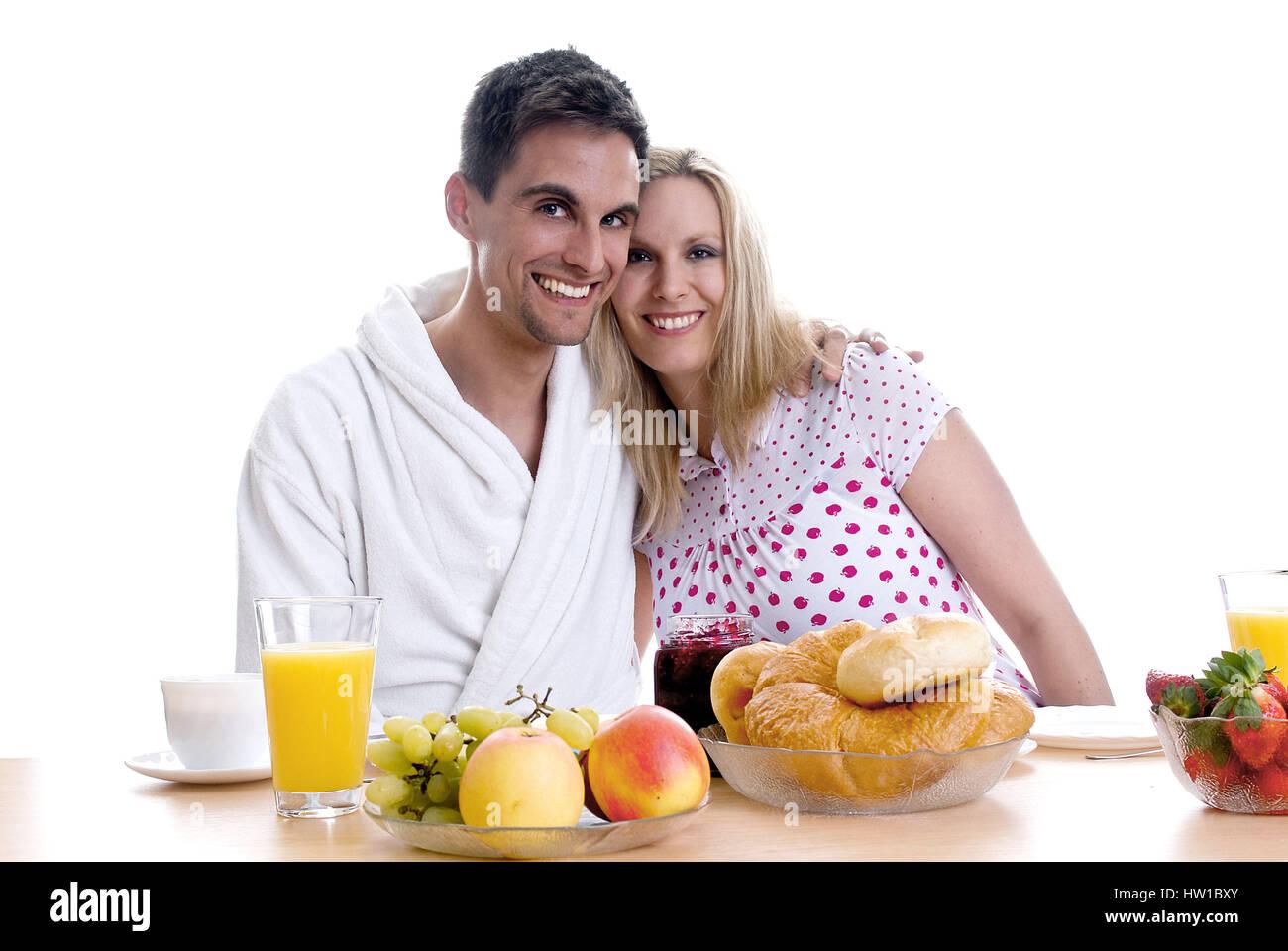 Common breakfast, Gemeinsames Frühstück Stock Photo