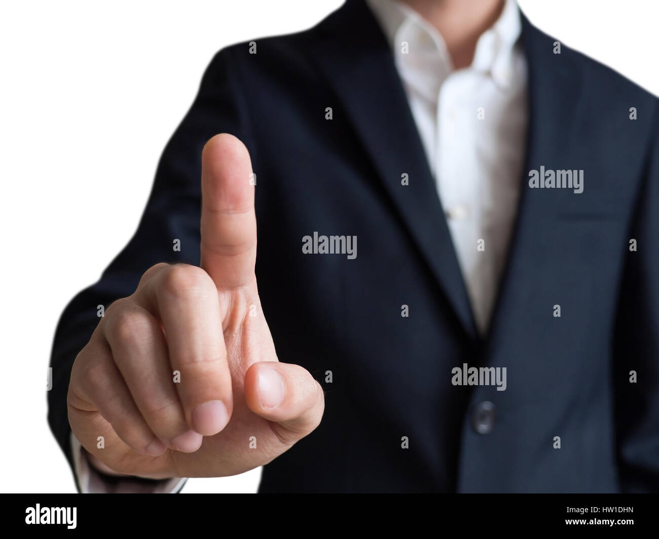 businessman touching and select concept, isolated on white background Stock Photo