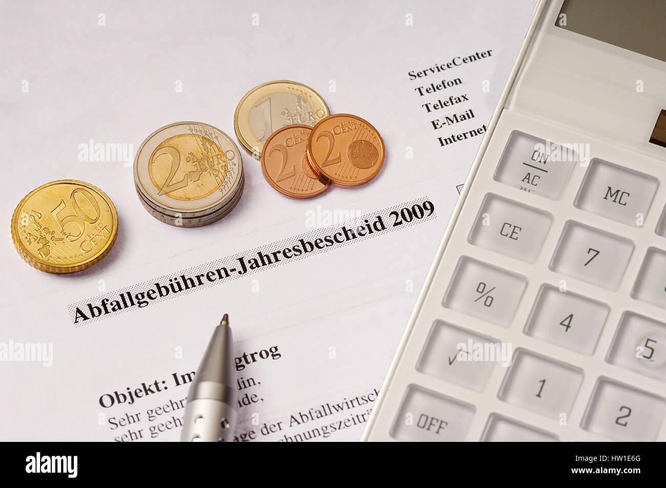 Waste fees, Abfallgebühren Stock Photo