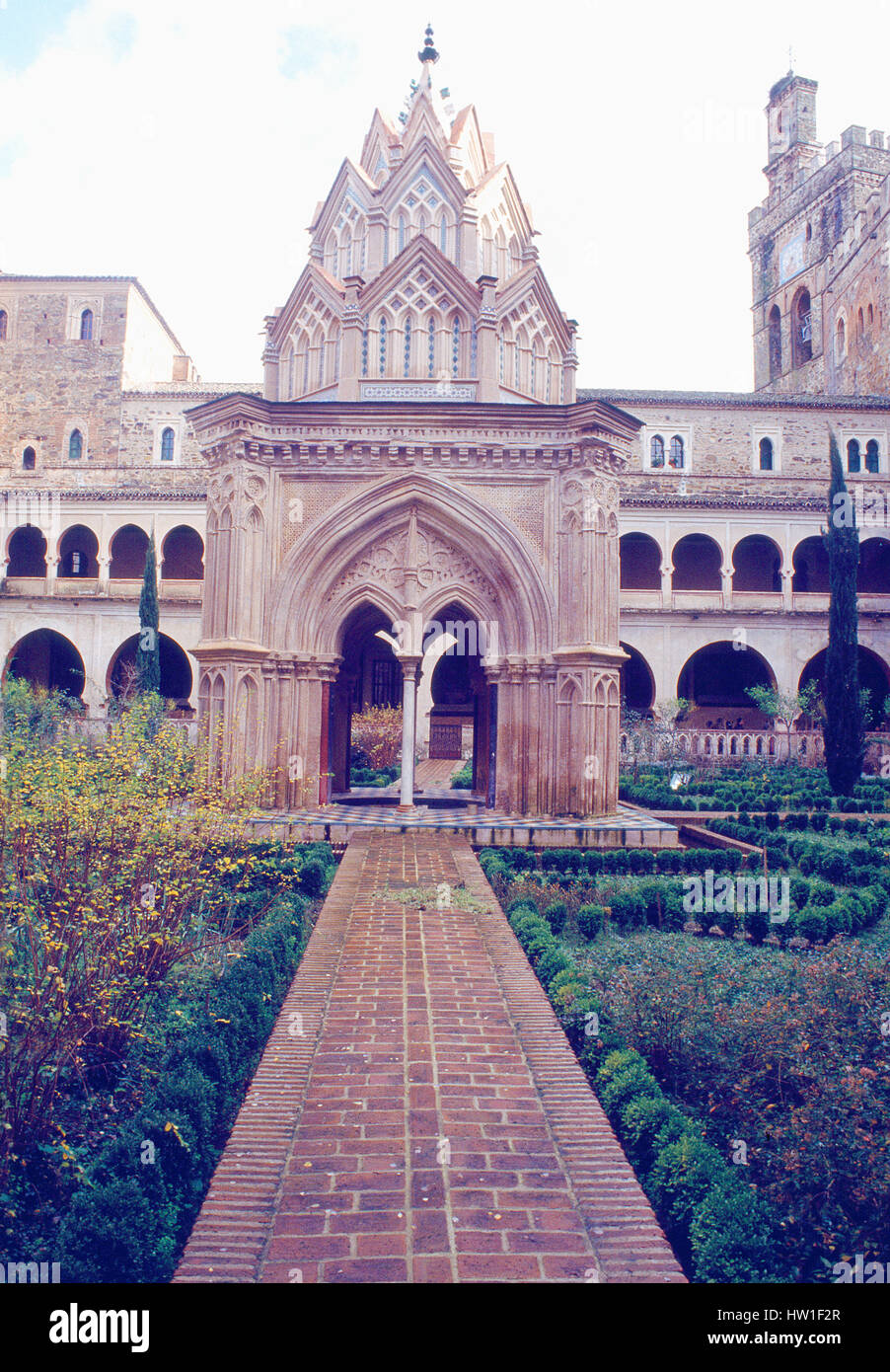Mudejar cloister. Monastery, Guadalupe, Caceres province, Extremadura, Spain. - Stock Image