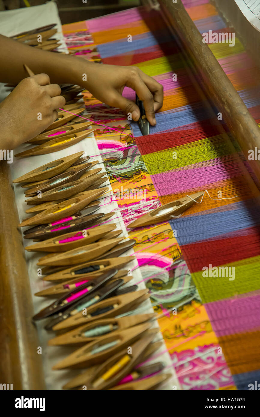 Silk Weaving Factory near Amarapura, Myanmar - Stock Image
