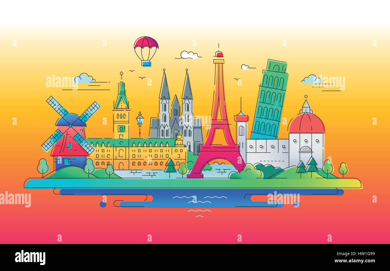 European landmarks flat design composition - Stock Vector