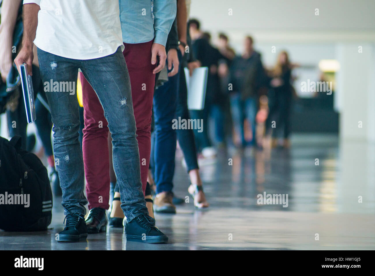 Shoes of people doing a line in a casting for a catwalk - Barcelona - Stock Image