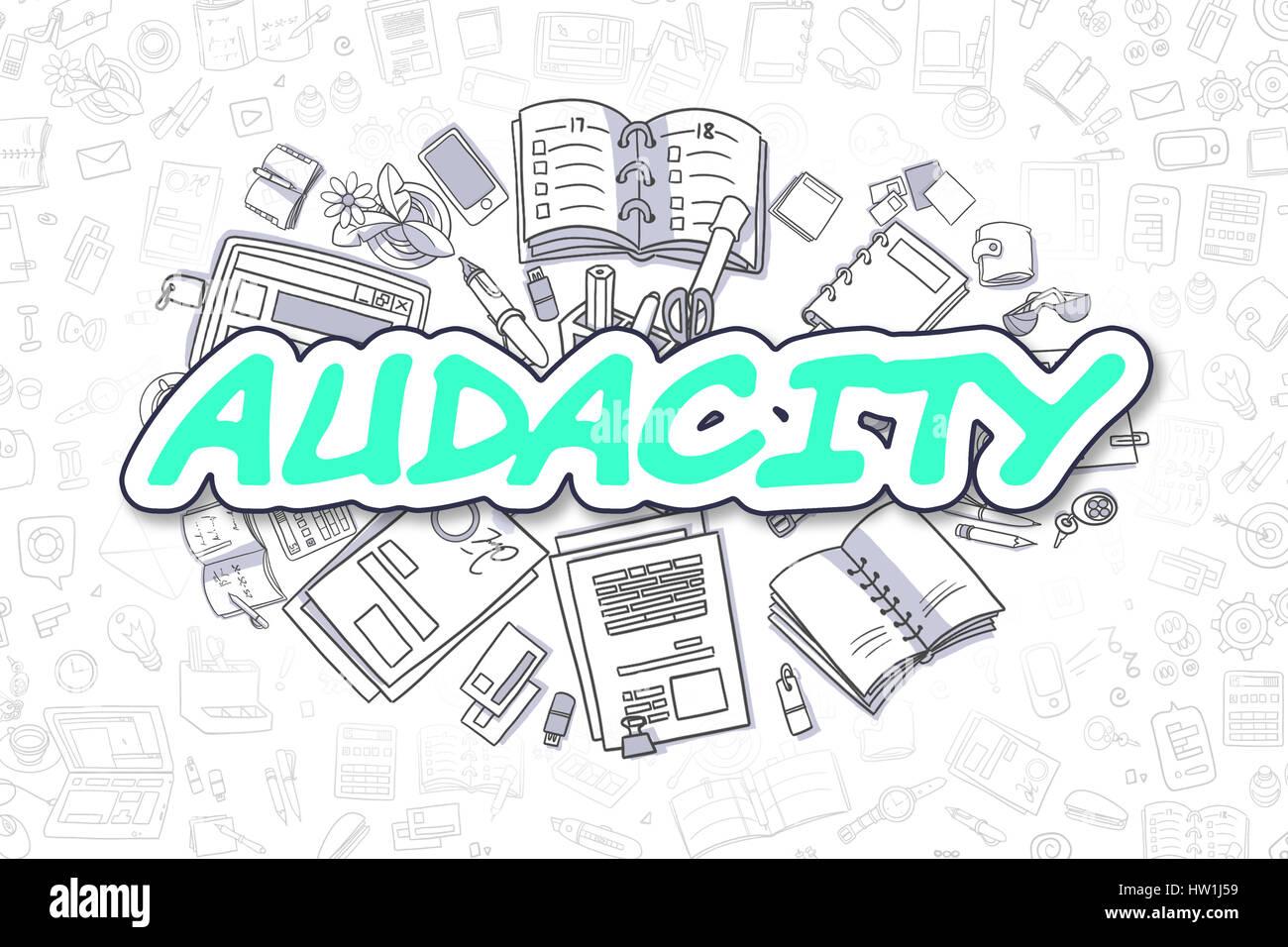 Audacity - Doodle Green Text. Business Concept. Stock Photo
