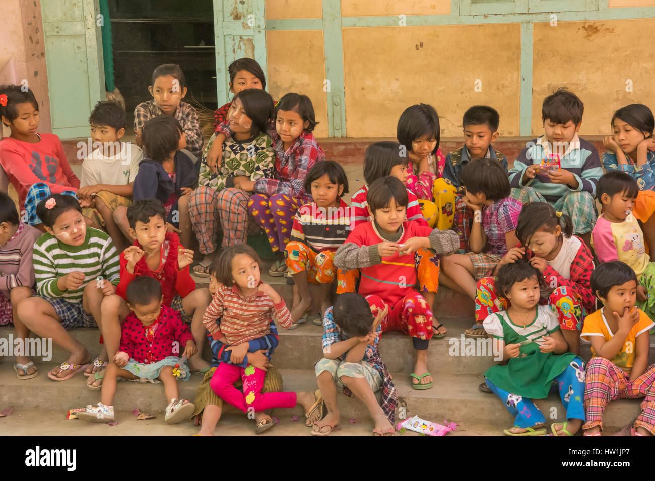 School Children in Yandabo, Myanmar - Stock Image