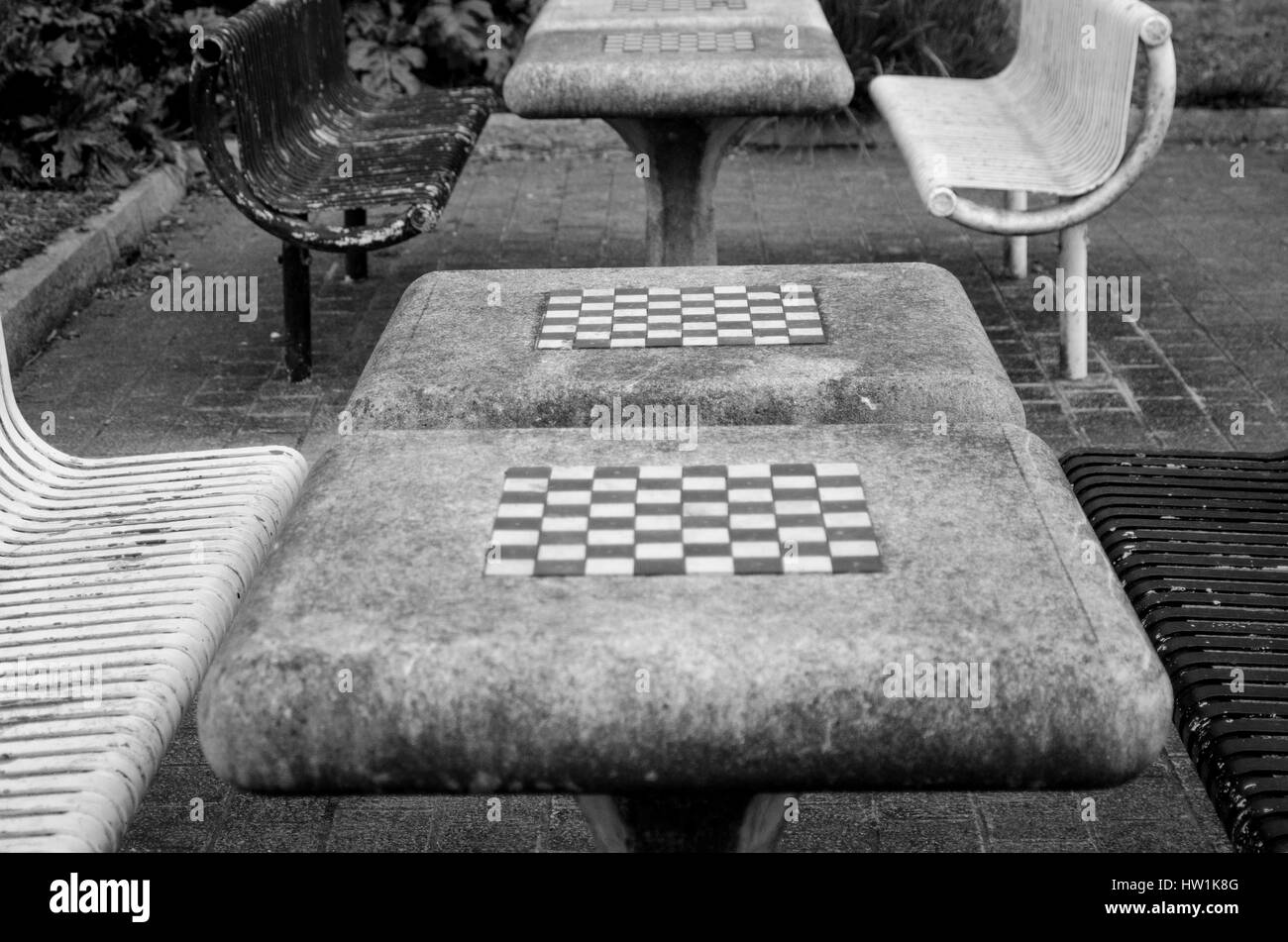 Outdoor chess boards plymouth - Stock Image