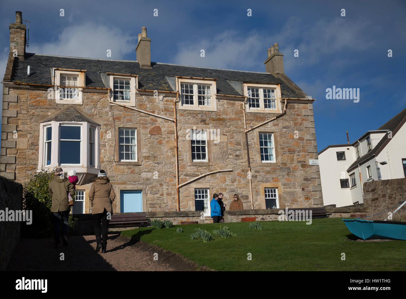 Blue sky over houses  in Elie Scotland - Stock Image
