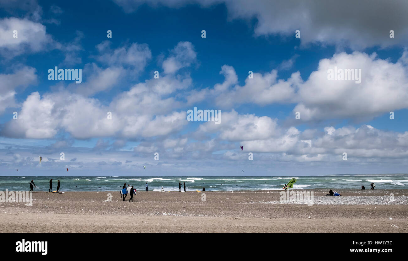 The surfer beach in Klitmoller which is a popular windsurfing destination in Northern Denmark. Klitmoller is also - Stock Image