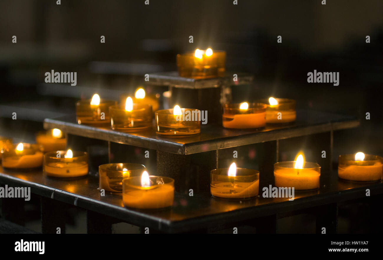 candles in cathedral of Paris, france - Stock Image