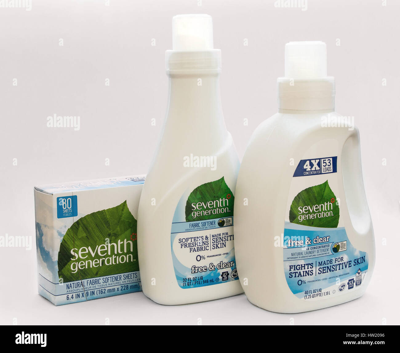 A set of Seventh Generation laundry detergent, fabric softener liquid and sheets for the dryer. Stock Photo