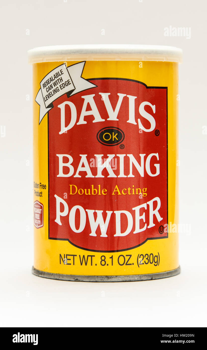 A pack of Davis baking powder isolated on white background. - Stock Image