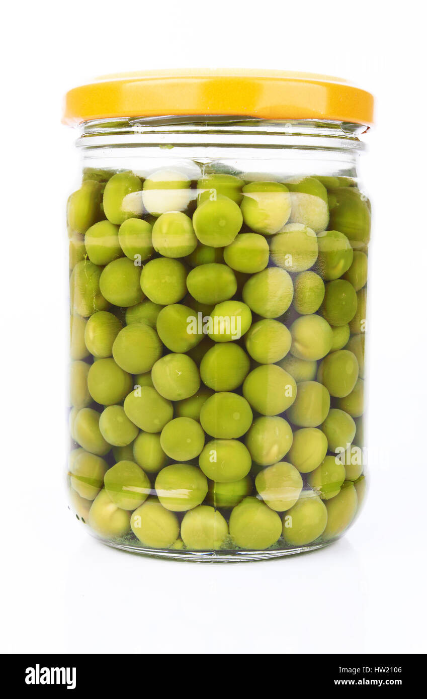green peas preserved in a glass jar Stock Photo