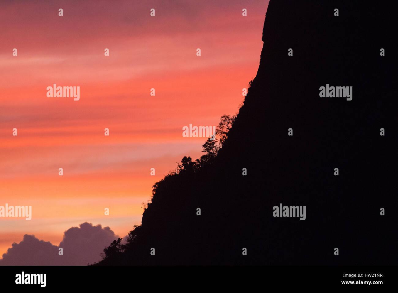 Sunset at Petit Piton , St. Lucia Stock Photo
