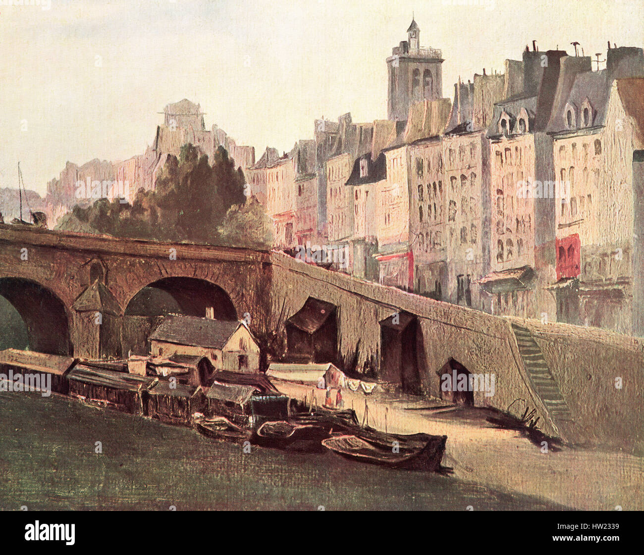 Le Pont Marie, Paris, France in the 19th century,  After the painting by Charles Francois Daubigny.. - Stock Image