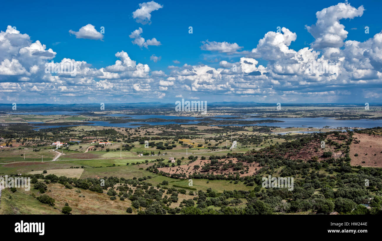 Portugal, the District of Evora. Monsaraz. From the castle walls overlooking the small town cemetery and then to - Stock Image