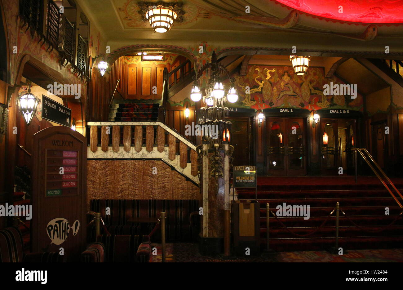 Interior of Cinema Pathé Tuschinski, an Art Nouveau film theater in Amsterdam, Netherlands. - Stock Image