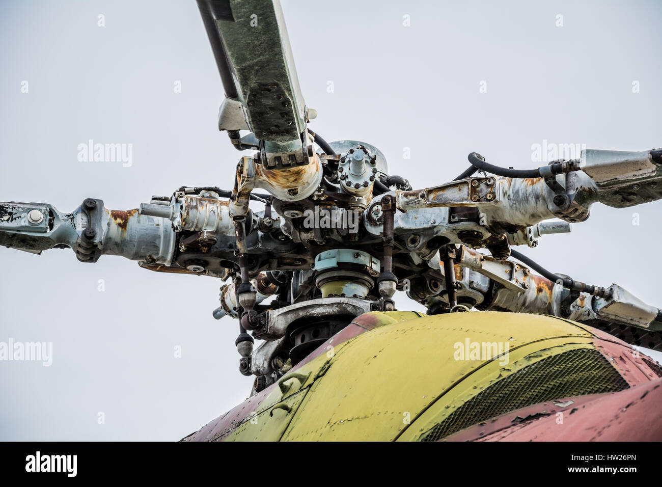 Propeller of old helicopter cloudy day - Stock Image