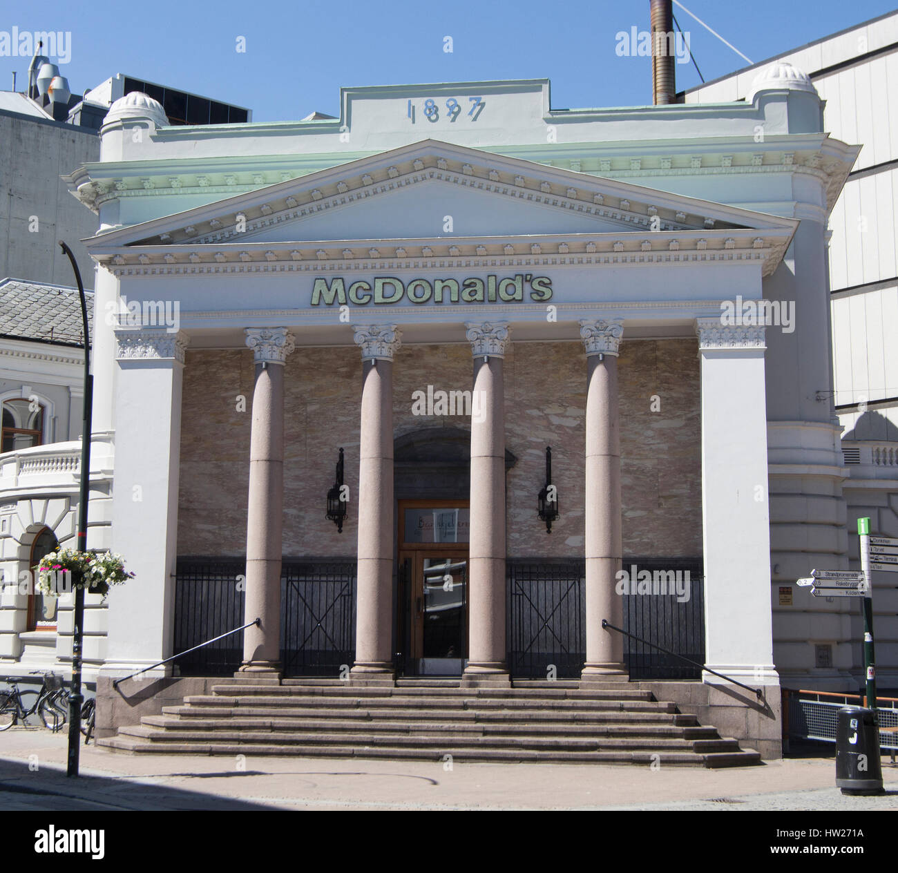 Imposing classical frontage of McDonald's in Kristiansand, Norway - Stock Image