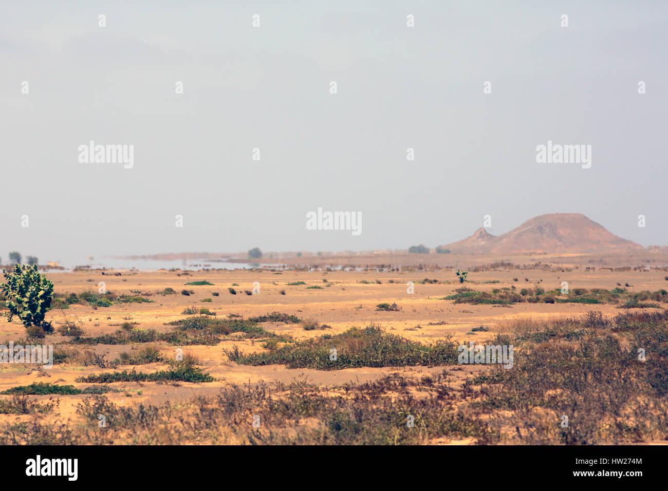 Inferior mirage Terra Boa desert  cape Verde - Stock Image