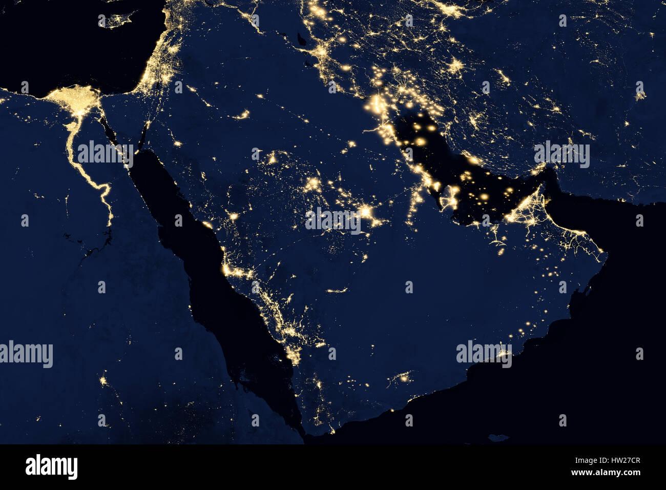City lights on world map. Arabian Peninsula. - Stock Image