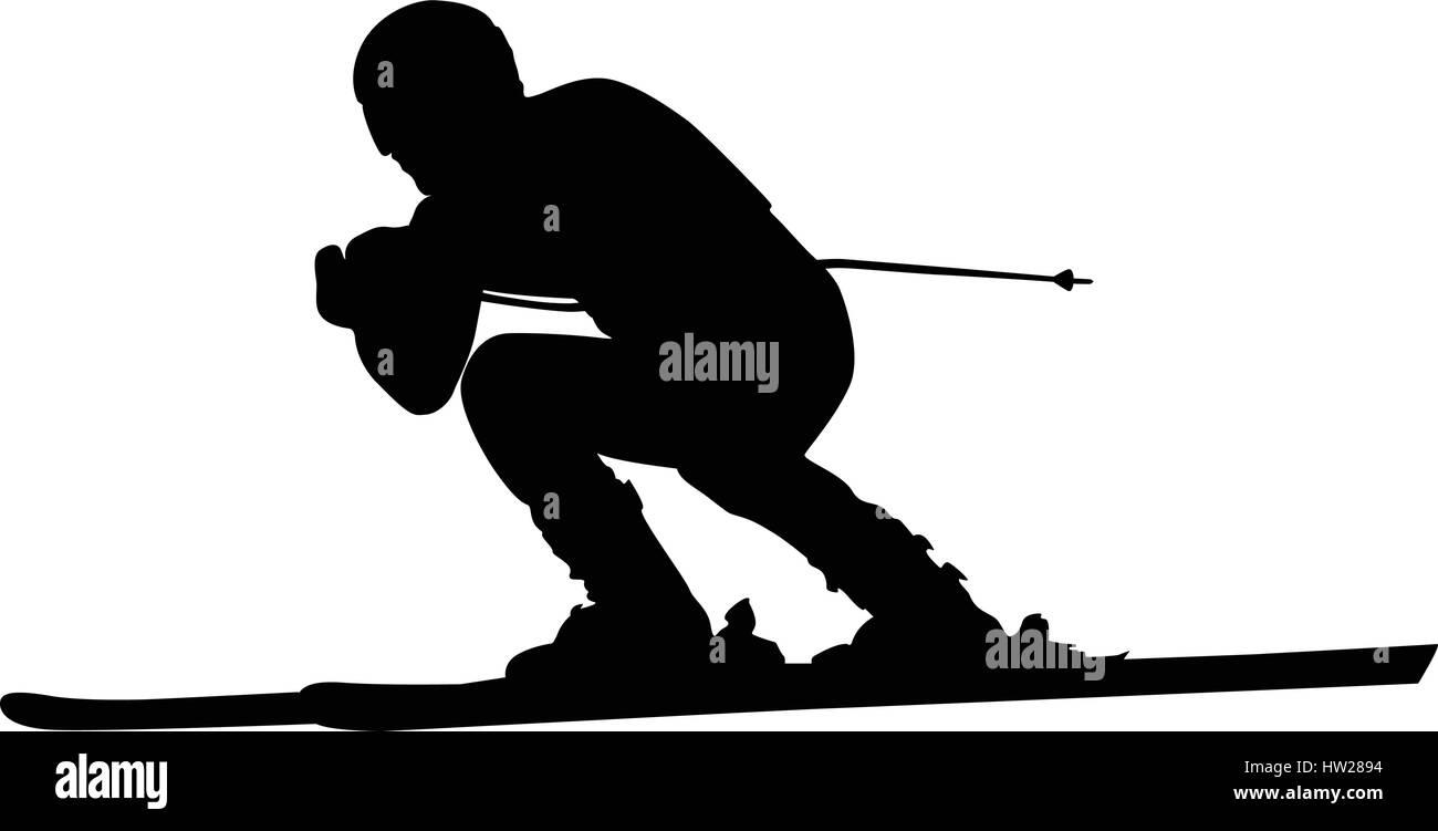 alpine skiing male athlete downhill black silhouette - Stock Vector