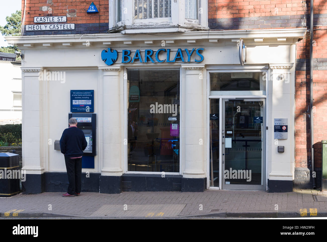 Barclays Bank branch in Llangollen Denbighshire one of the few remaining rural bank branches left open in North - Stock Image