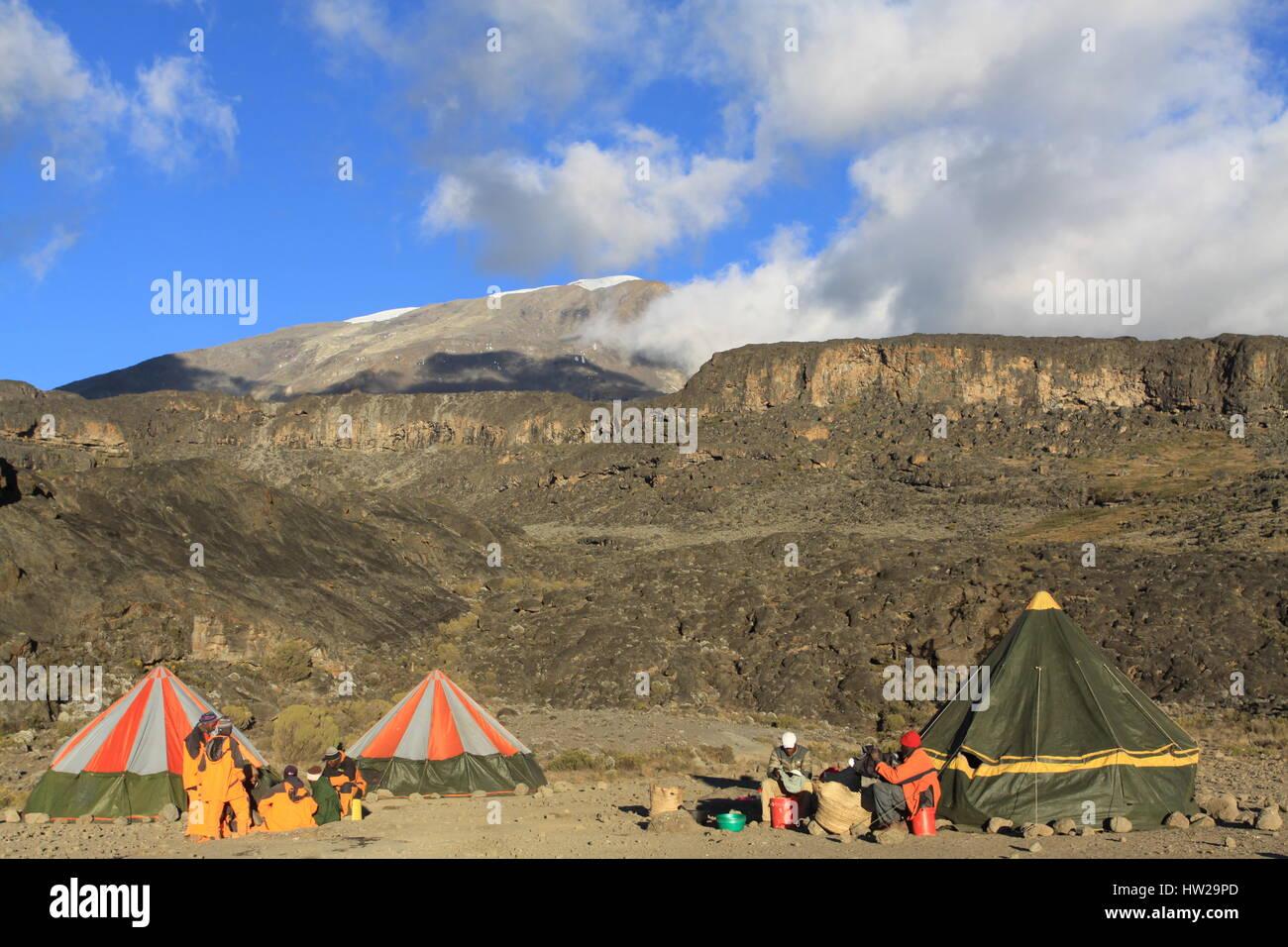 Camping on Mount Kilimanjaro - Stock Image