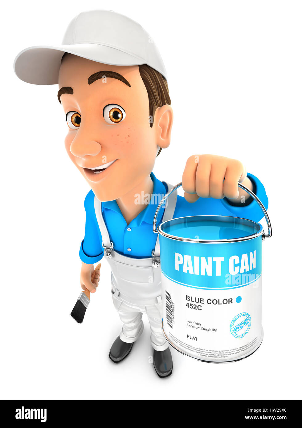 3d painter holding paint can, illustration with isolated white background Stock Photo