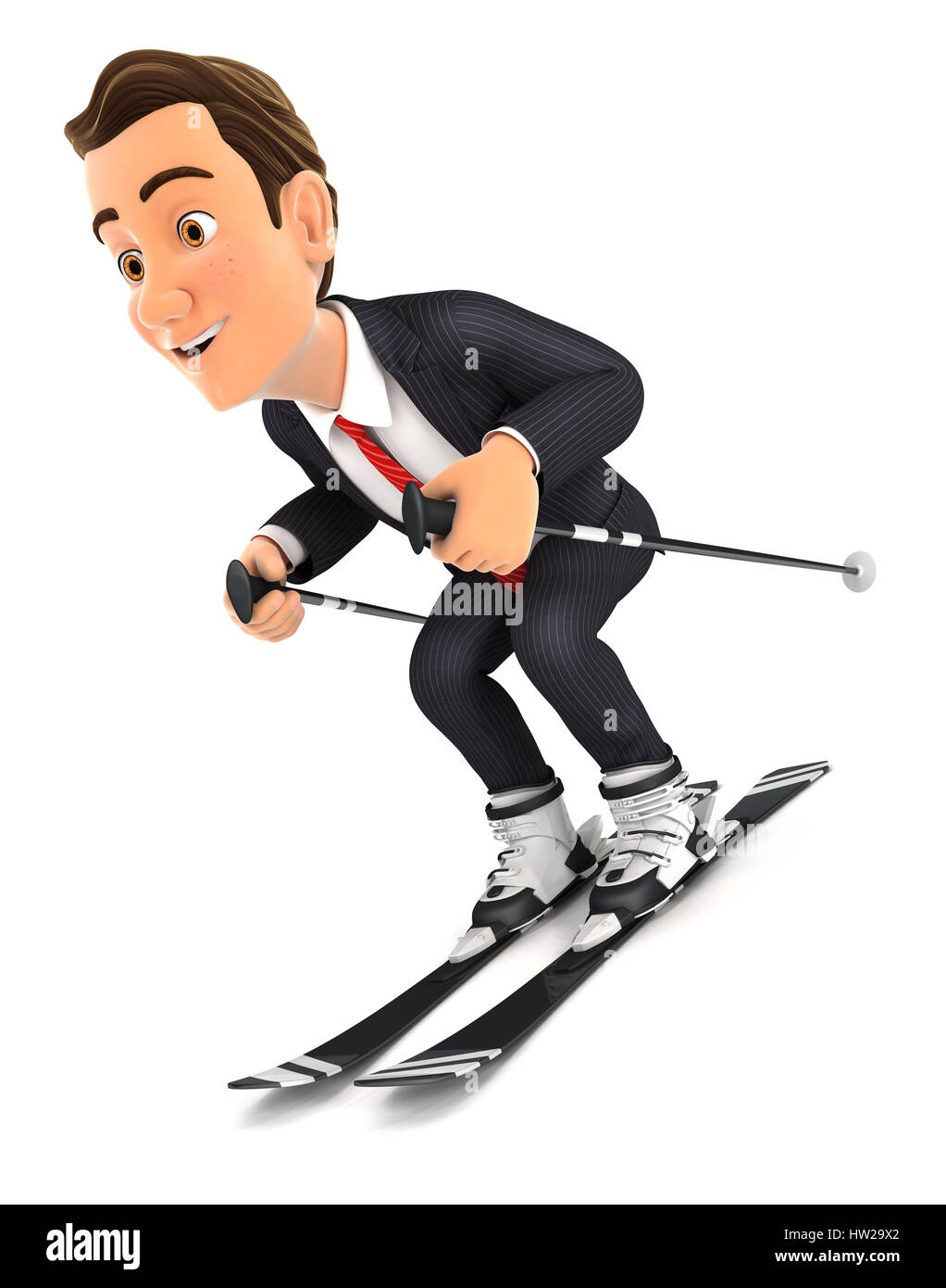 3d businessman skiing, illustration with isolated white background Stock Photo