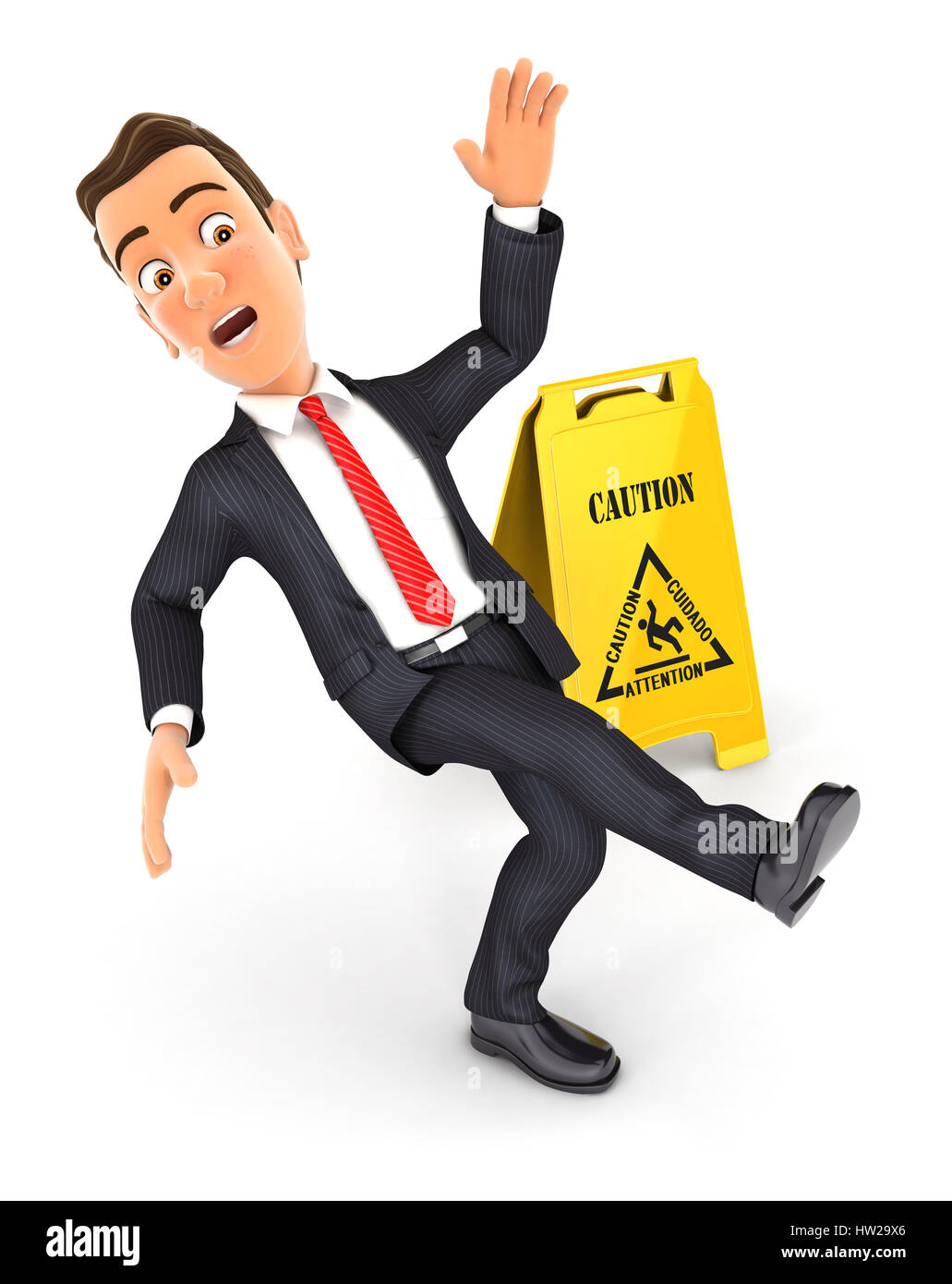 3d businessman slipping on wet floor, illustration with isolated white background Stock Photo