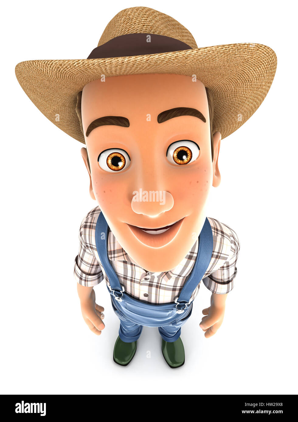 3d farmer standing and looking up at camera, illustration with isolated white background Stock Photo