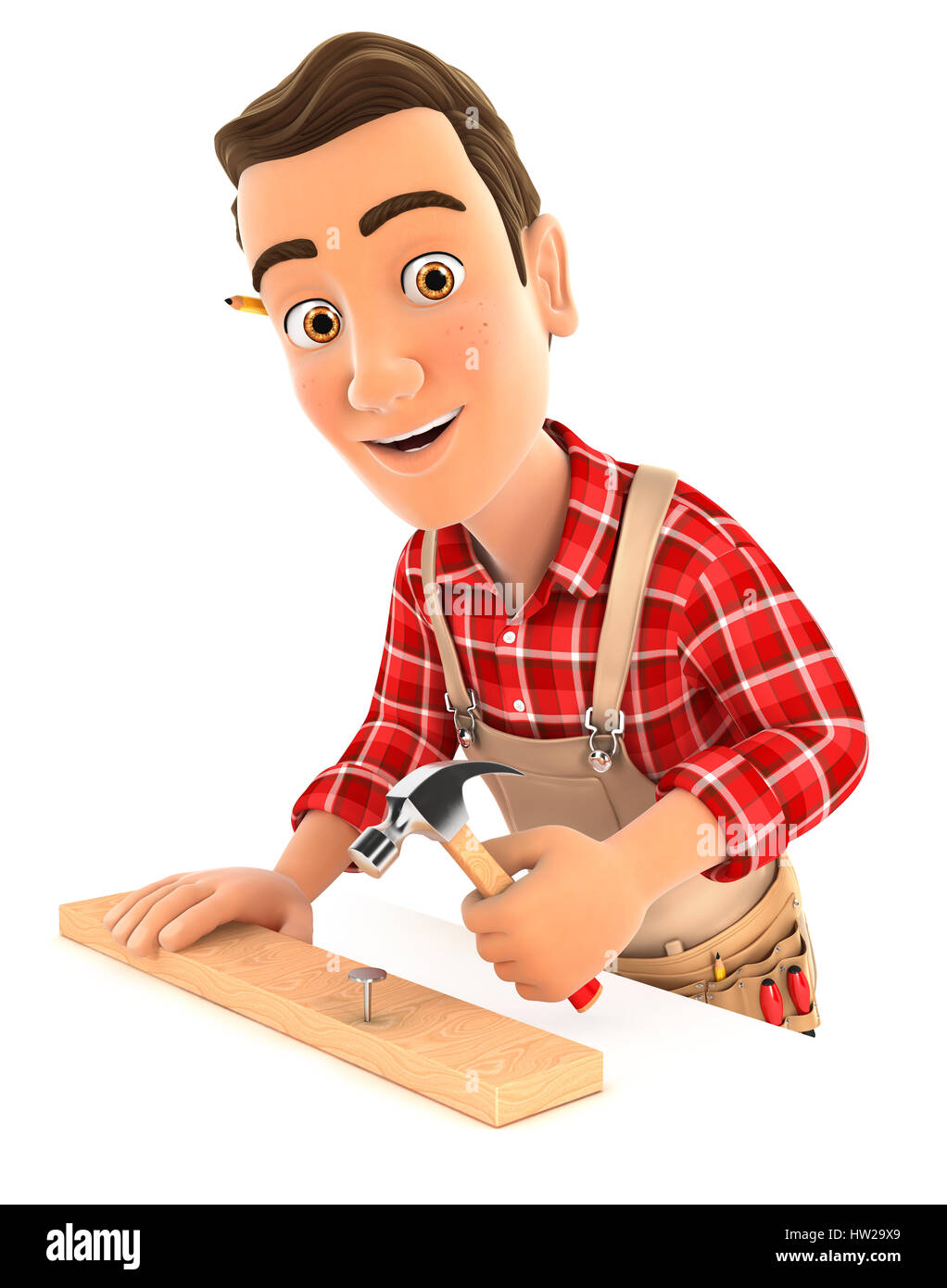 3d handyman nailing wooden plank with hammer, illustration with isolated white background Stock Photo