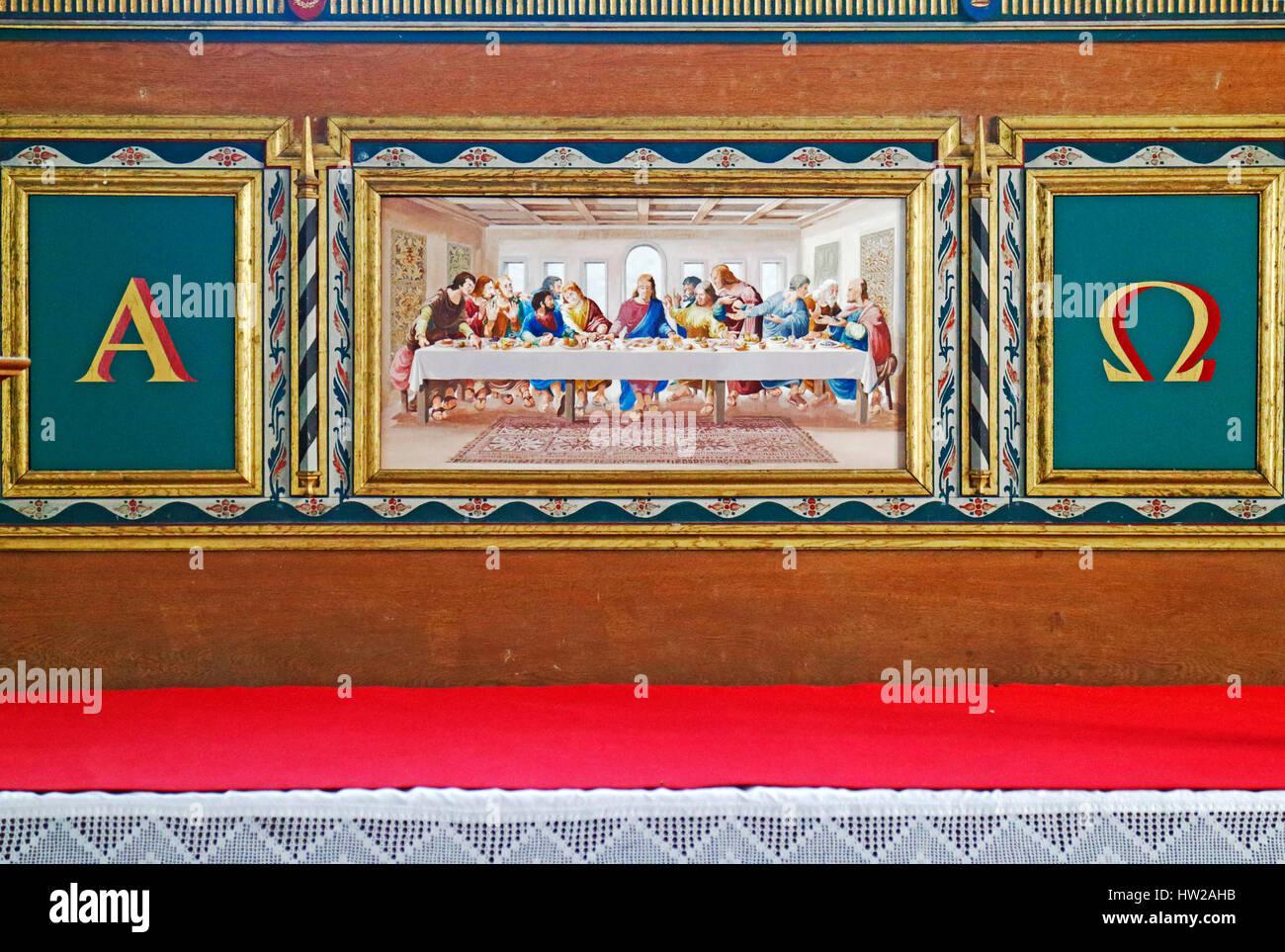 Reredos in the parish church of St John the Baptist at Stiffkey, Norfolk, England, United Kingdom. Stock Photo