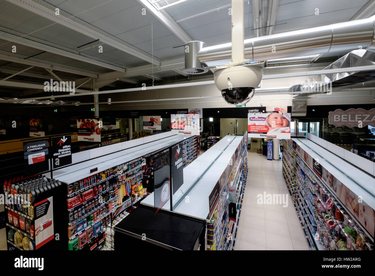 Security camera above supermarket aisles - Stock Image