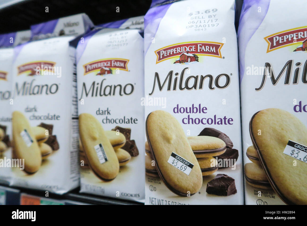 Bags of Pepperidge Farms Milano Double Chocolate Cookies, D'Agostino Grocery Store in New York City, United - Stock Image
