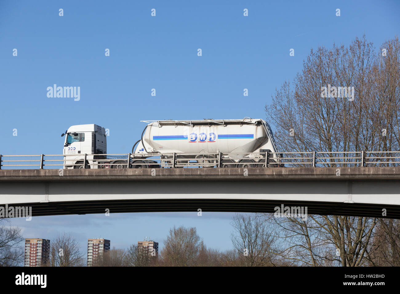B McFarlane Haulage tanker on the road in the Midlands - Stock Image
