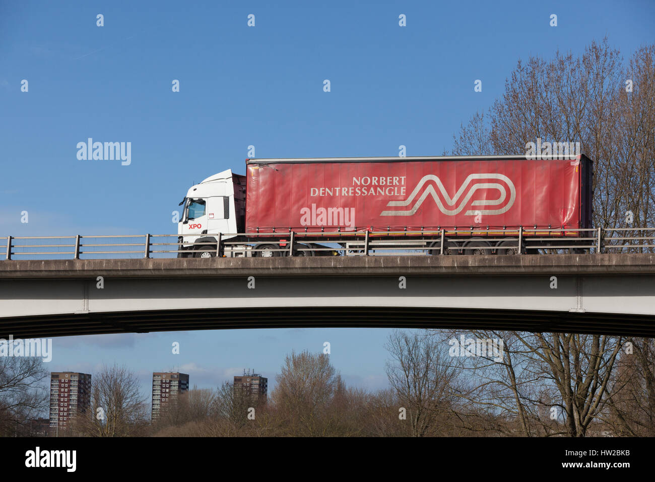 Norbert Dentressangle lorry on the road in the Midlands Stock Photo