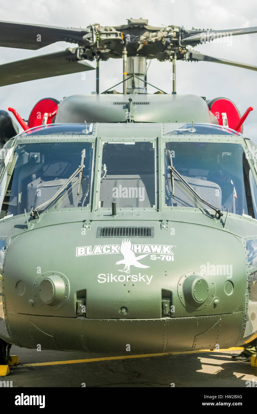 Closeup of a Sikorsky Black Hawk military helicopter on static display at the Farnborough Airshow, UK - Stock Image