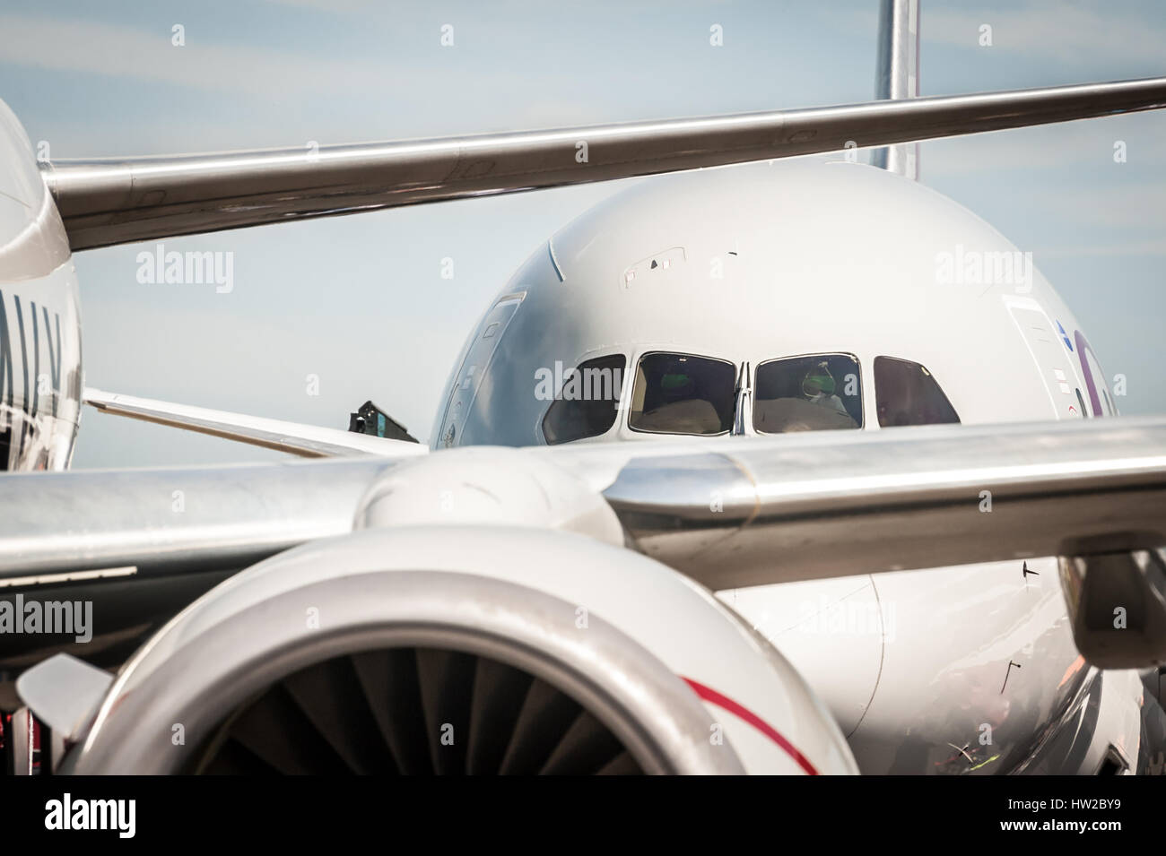 abstract of jet aircraft taxiing at an airport - Stock Image