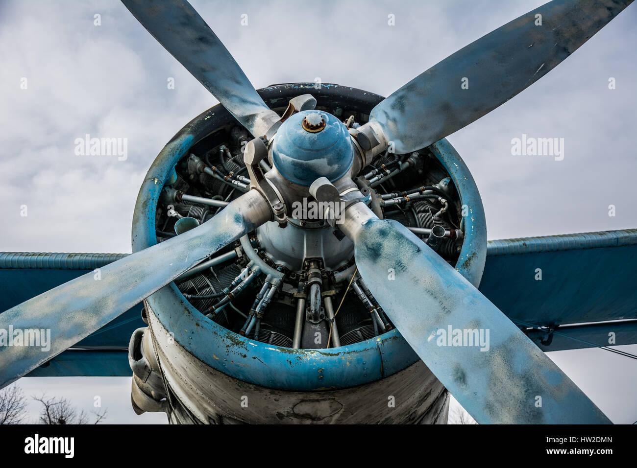 Screw of Soviet AN-2 plane close-up - Stock Image