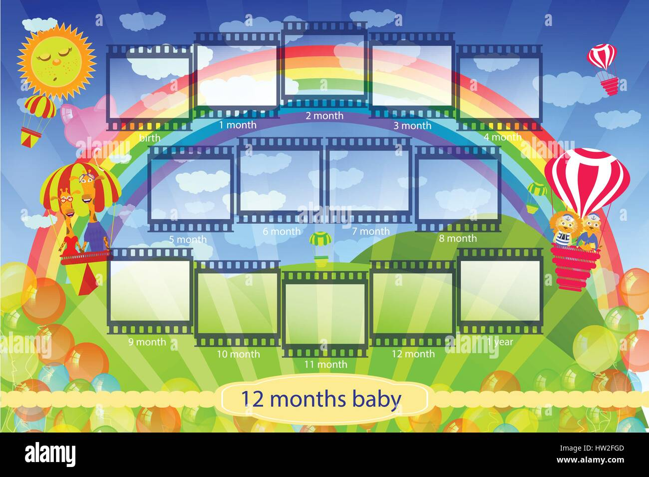 Frame For The Child My First Year Of Life 12 Months Of Child Stock