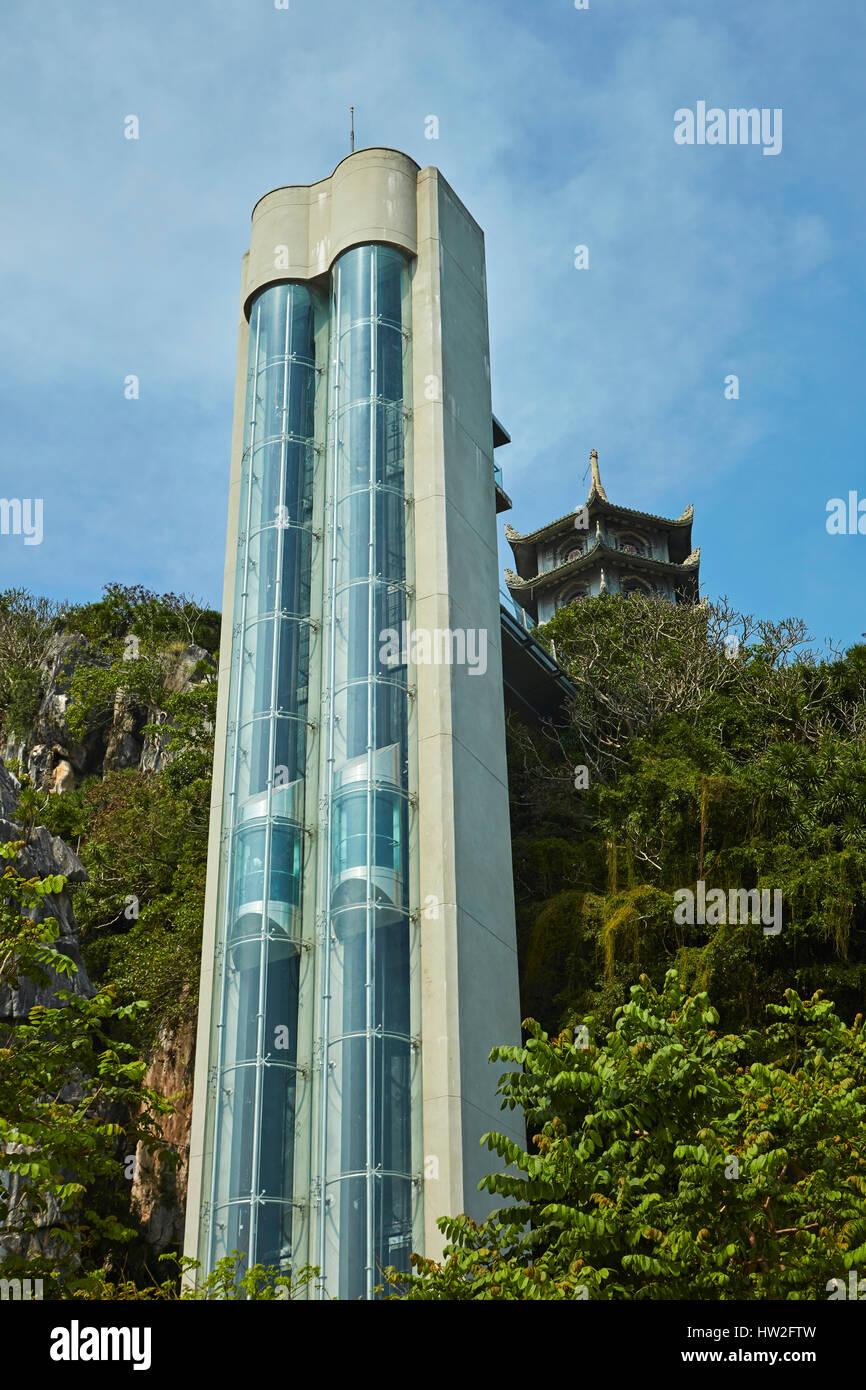 Elevator and pagoda, Marble Mountains, Da Nang, Vietnam - Stock Image