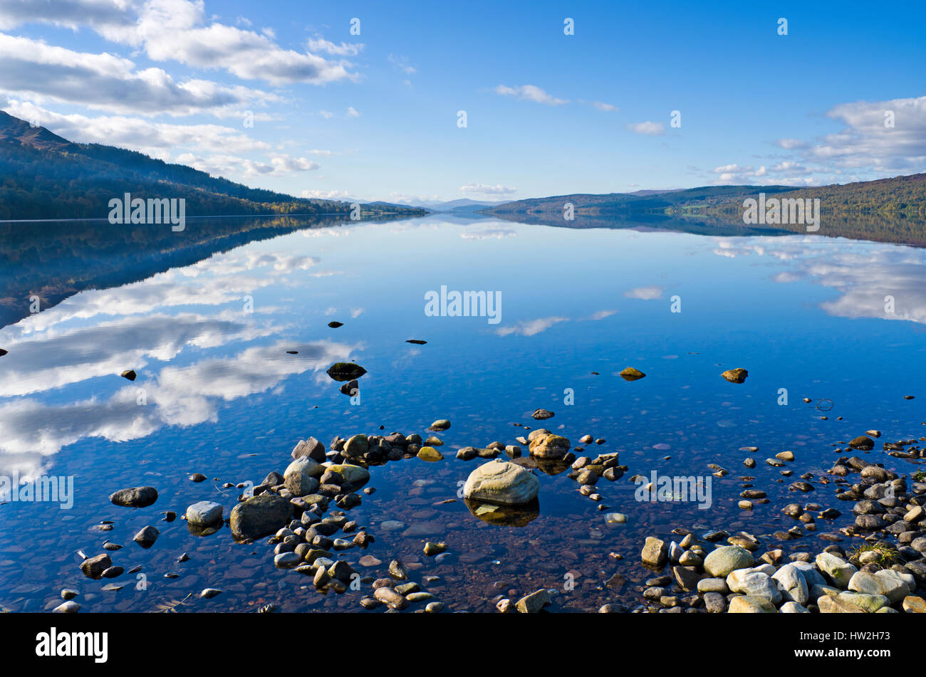 A view along the length of Loch Rannoch, Perthshire, Scottish Highlands, from the shore near near Kinloch Rannoch, - Stock Image