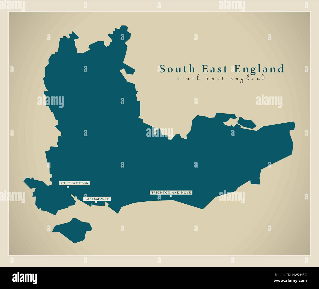 Fitted In Sussex Surrey And Kent: Map South East England Stock Photos & Map South East