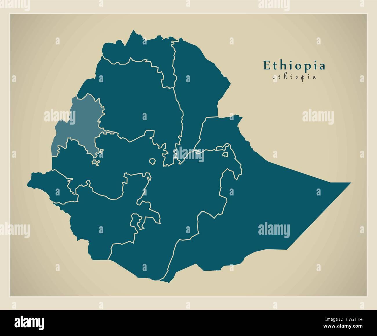 Modern Map - Ethiopia with regions ET Stock Vector Art