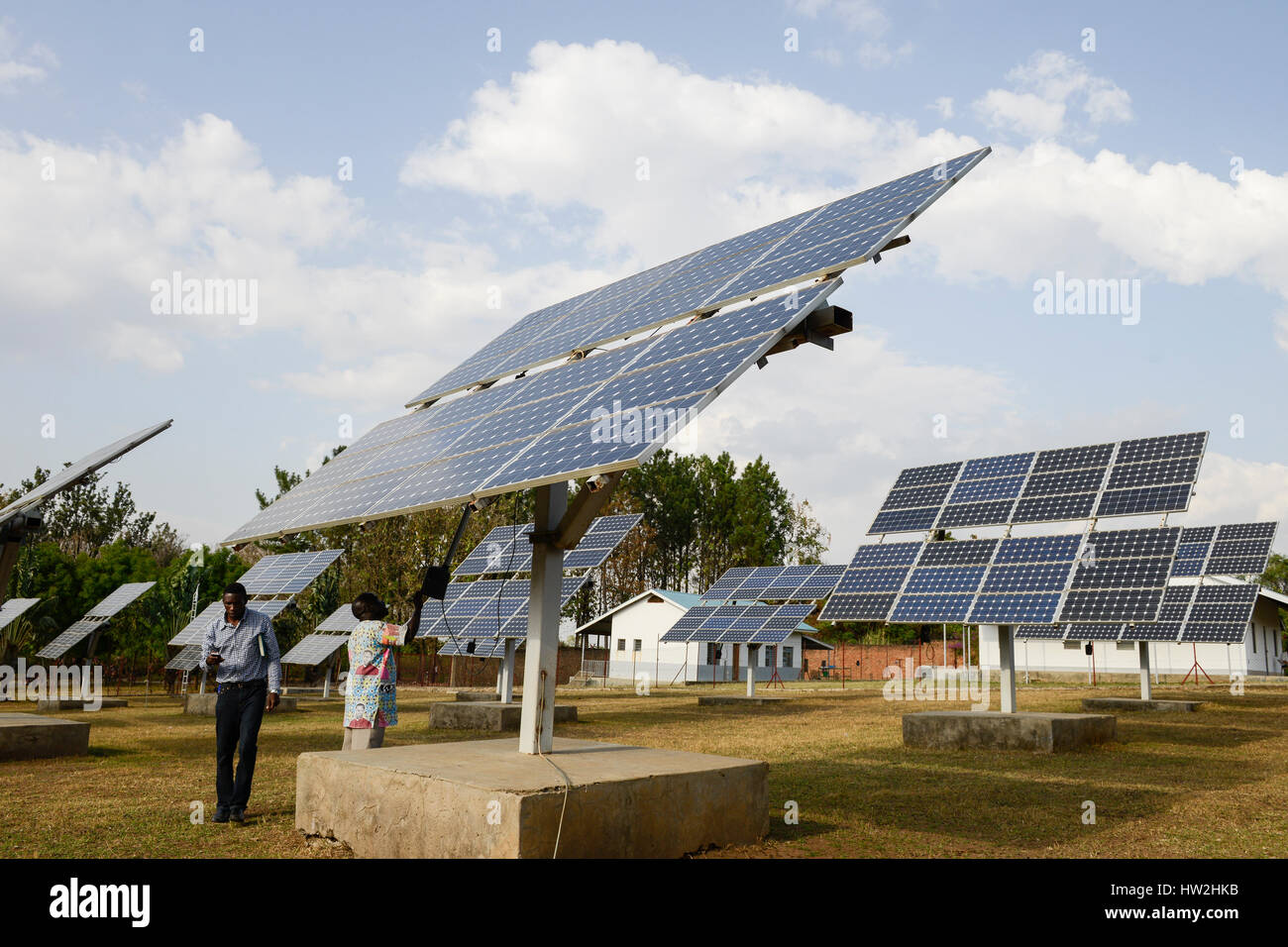 UGANDA, Arua, solar power, swingable solar panels for power supply of Radio station Radio Pacis / autarke Stromversorgung Stock Photo